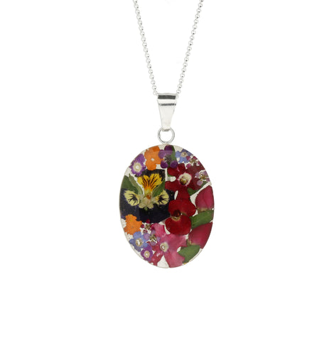 Floral Necklace Mixed Petals Oval Silver Large