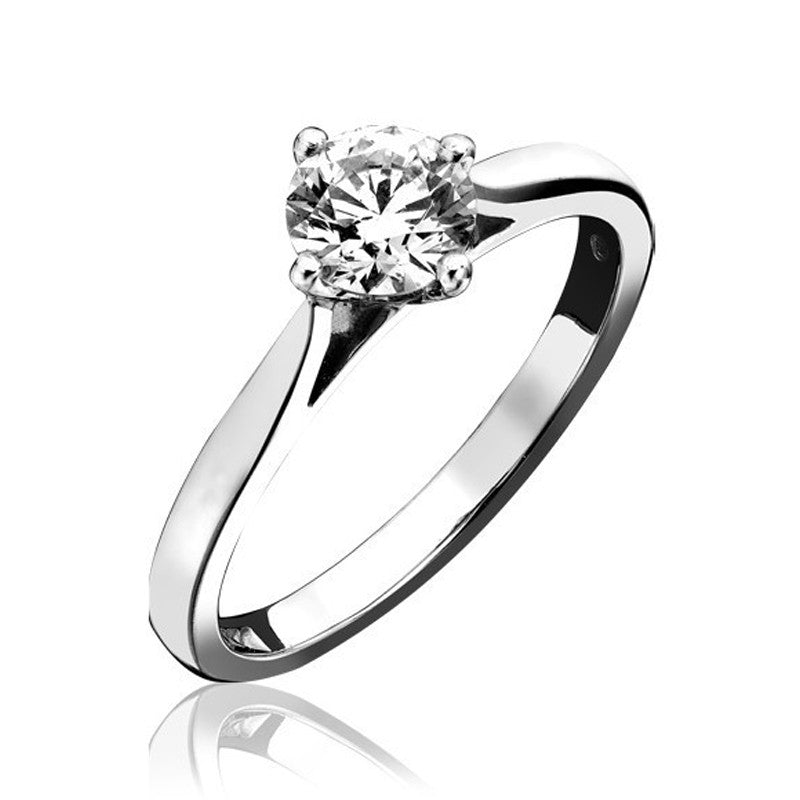 Platinum 0.30ct Diamond Four Claw Round Brilliant Cut Solitaire Ring