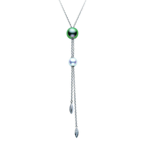 Mikimoto Necklace Tassel Drop Pearl And Diamond 18ct White Gold