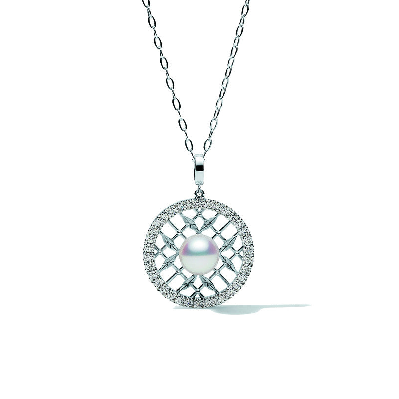 Mikimoto Necklace Akoya Pearl Diamond And 18ct White Gold