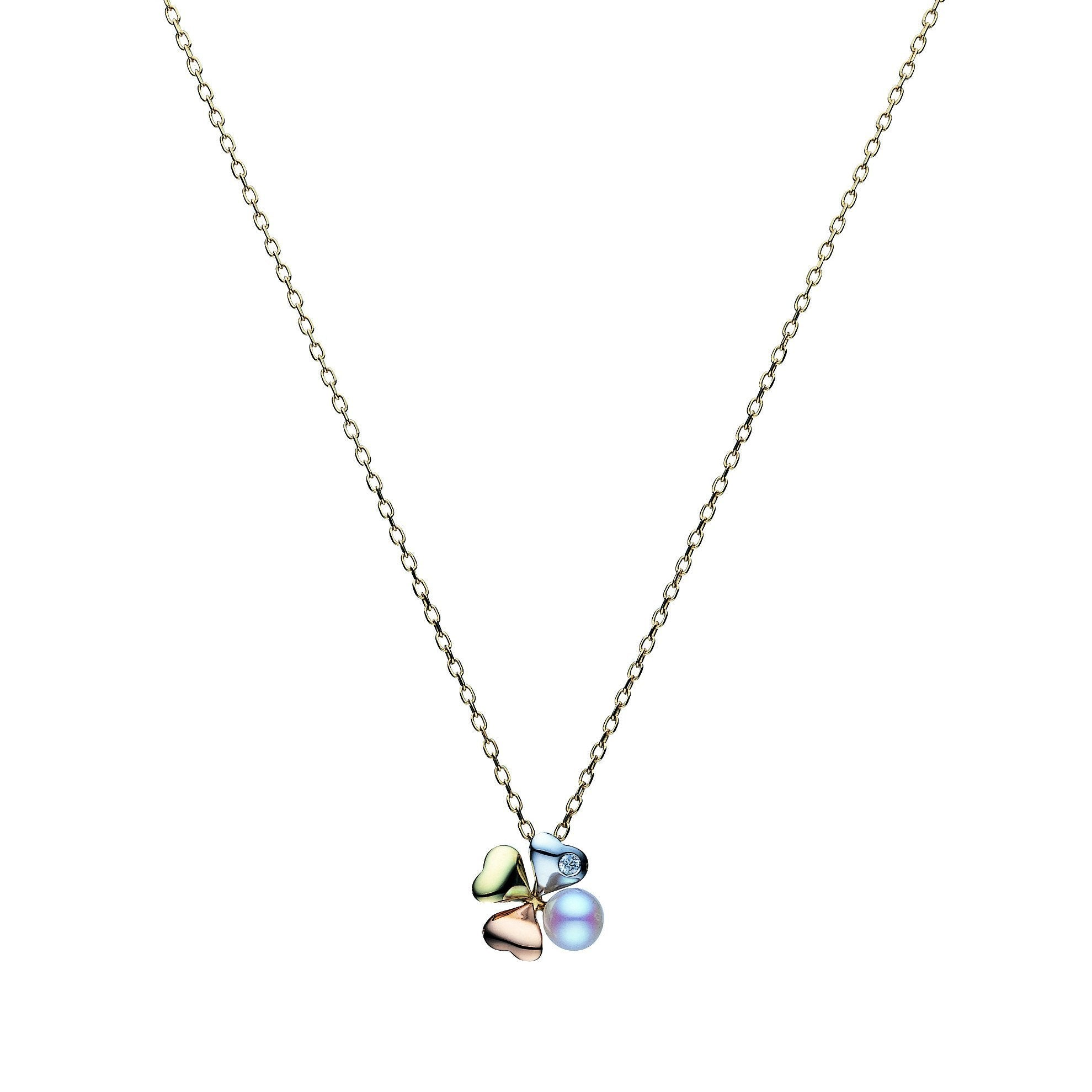 Mikimoto Necklace Clover Pearl And Diamond 18ct White Gold