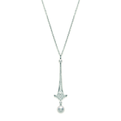 Mikimoto Necklace Vintage Long Sword Drop Pearl 18ct White Gold
