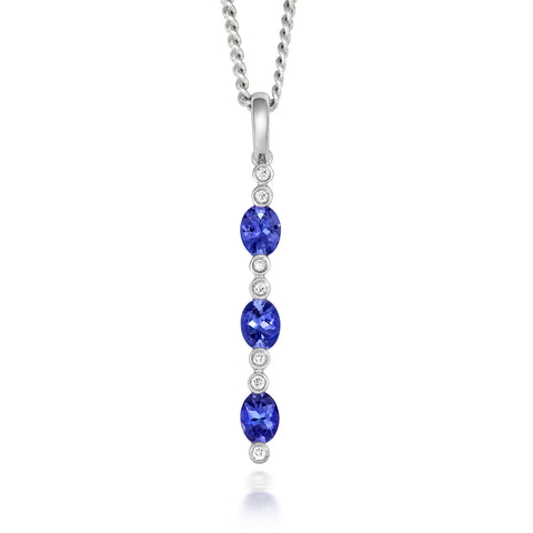18ct White Gold Tanzanite and Diamond Three Stone Necklace