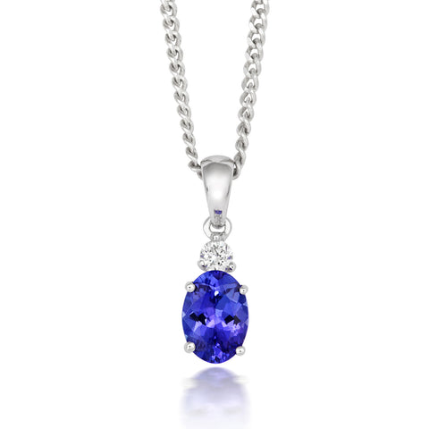 18ct White Gold Tanzanite and Diamond Oval Drop Necklace