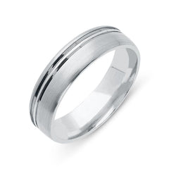 Palladium 6mm Channelled Satin Wedding Ring