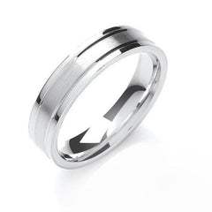 Palladium 6mm Engraved Satin Wedding Ring