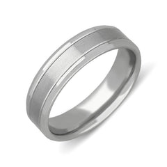 Palladium 6mm Flat Court Shape Satin Wedding Ring