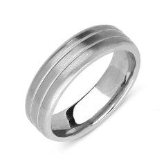 Palladium 6mm Flat Engraved Wedding Ring
