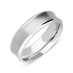 Palladium 7mm Concave Brushed Wedding Ring