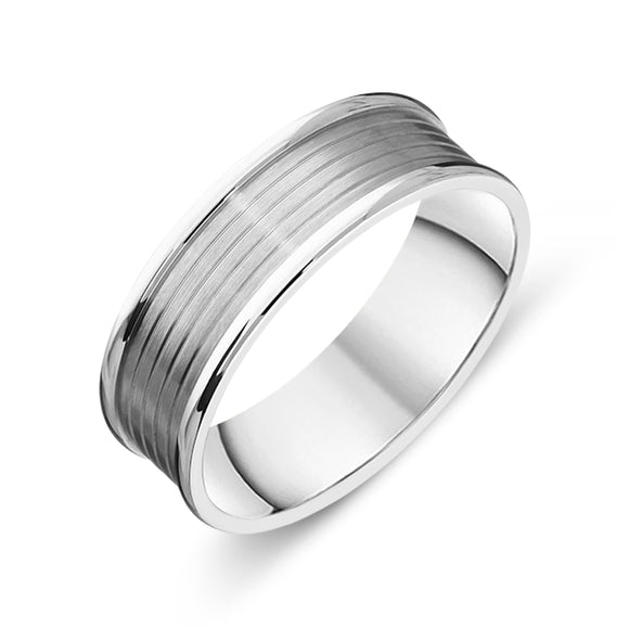 Palladium 7mm Engraved Wedding Ring, FJT-029.