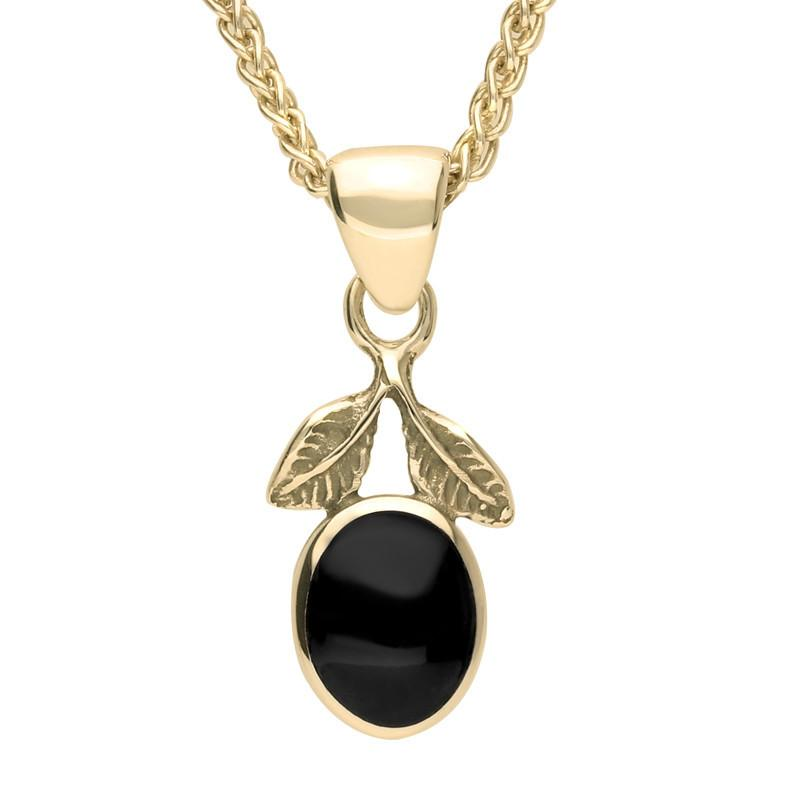 18ct Yellow Gold Whitby Jet Oval Leaf Necklace