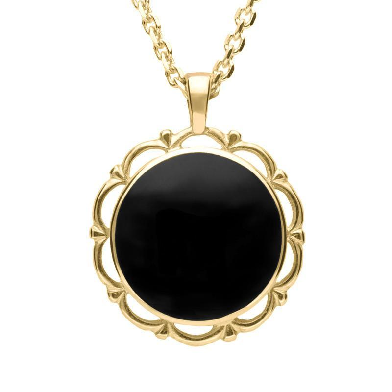 18ct Yellow Gold Whitby Jet Round Frill Necklace
