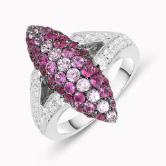 Picchiotti 18ct White Gold Pink Sapphire Diamond Marquise Ring