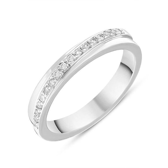 Platinum 0.17ct Diamond Channel Set Half Eternity Ring, DW086T.