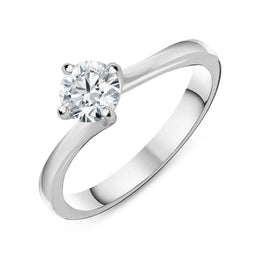 Platinum 0.55ct Diamond Twisted Solitaire Ring R1121