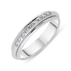 Platinum 0.12ct Diamond Beaded Wedding Ring