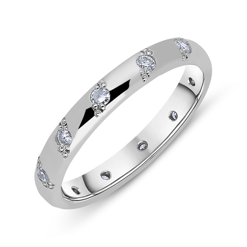 Platinum 0.30ct Diamond Beaded Wedding Ring