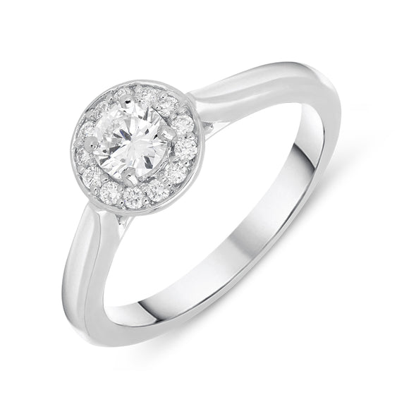 Platinum 0.31ct Diamond Brilliant Cut Halo Ring, FEU-616.