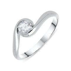Platinum 0.37ct Diamond Solitaire Twist Ring