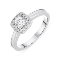 Platinum 0.38ct Diamond Brilliant Cut Cushion Cluster Ring