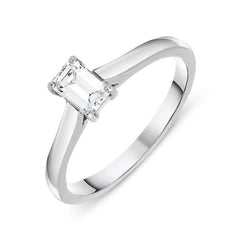 Platinum 0.40ct Diamond Emerald Cut Solitaire Ring