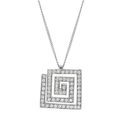 Platinum 0.40ct Diamond Square Spiral Necklace