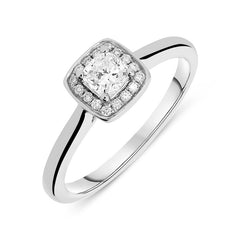 Platinum 0.44ct Diamond Framed Cushion Halo Ring