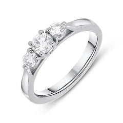 Platinum 0.50ct Diamond Claw Set Trilogy Ring