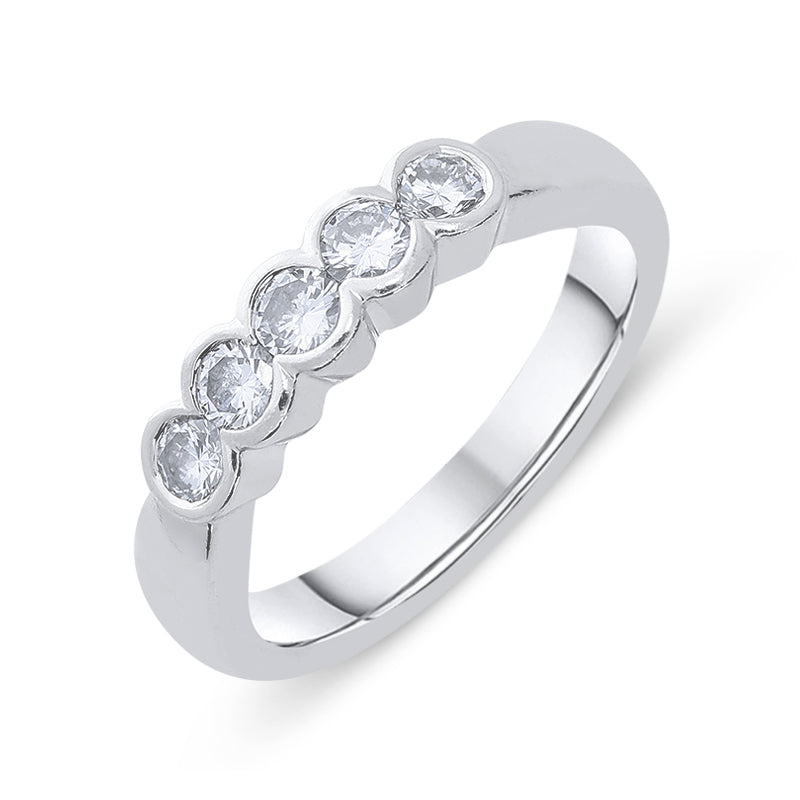 Platinum 0.50ct Diamond Five Stone Bezel Set Ring