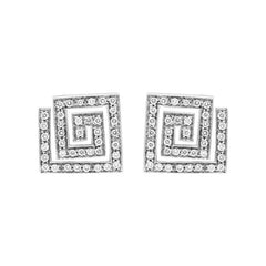 Platinum 0.50ct Diamond Square Spiral Earrings