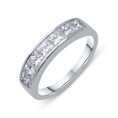 Platinum 0.70ct Diamond Princess Cut Half Eternity Ring