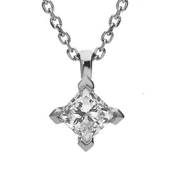 Platinum 0.77ct Diamond Princess Cut Solitaire Necklace