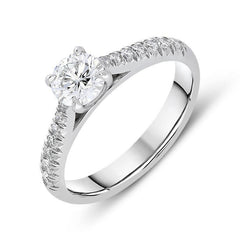 Platinum 0.82ct Diamond Brilliant Cut Ring