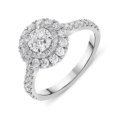 Platinum 1.27ct Diamond Double Halo Ring