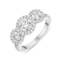 Platinum 1.52ct Diamond Brilliant Cut Trilogy Cluster Ring