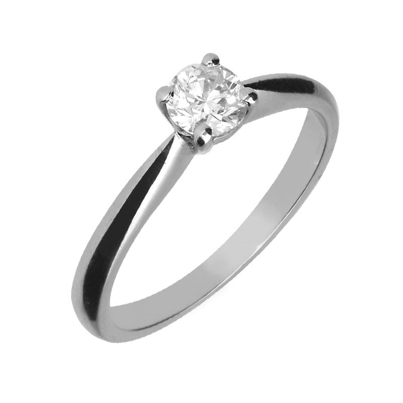 Platinum Brilliant Cut 0.41 Carat Diamond Solitaire Ring