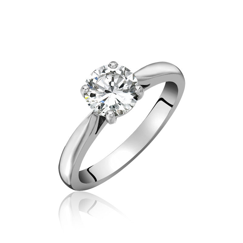 Platinum Brilliant Cut 0.44 Carat Diamond Solitaire Ring