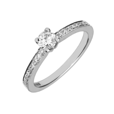 Platinum Brilliant Cut 0.47 Carat Diamond Solitaire Shoulder Ring