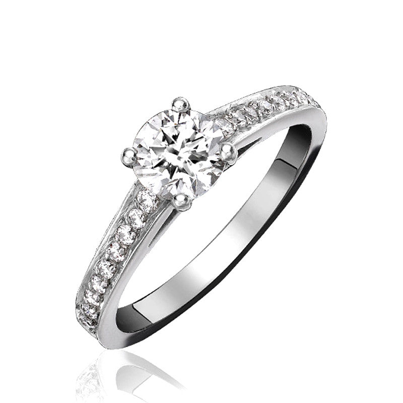 Platinum 0.30ct Diamond Channel Set Shoulder Solitaire Ring