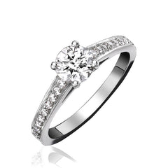 Platinum 1.00ct Diamond Channel Set Shoulder Solitaire Ring