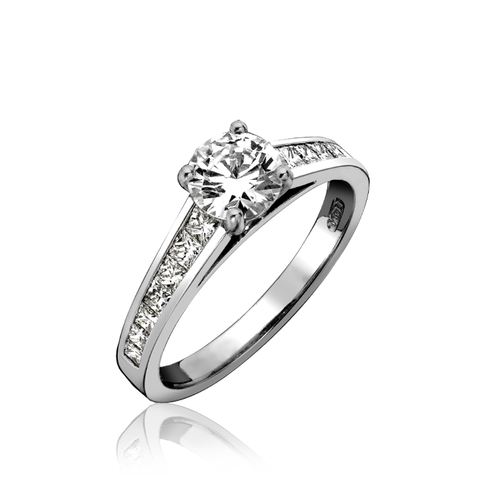 Platinum 0.70ct Diamond Graduated Princess Cut Shoulder Solitaire Ring