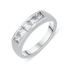 Platinum Diamond Princess Cut Half Eternity Ring
