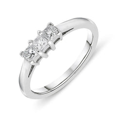 Platinum Diamond Princess Cut Trilogy Ring