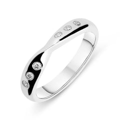 Platinum 0.09ct Diamond Set Twist Band Ring