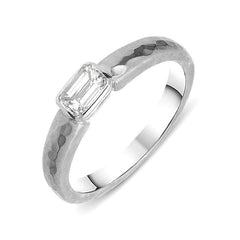 Platinum Emerald Cut Diamond Textured Ring