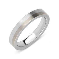 Platinum and 18ct White Gold 3.5mm Satin Wedding Ring
