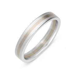Platinum and 18ct White Gold 4mm Satin Wedding Ring