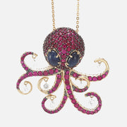 Ponte Vecchio 18ct White And Rose Gold Diamond Ruby Whitby Jet Octopus Pendant CG631MR
