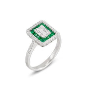 Ponte Vecchio Benvenuto 18ct White Gold 0.53ct Emerald Diamond Cluster Ring, CA1518SMW.