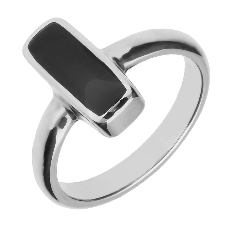 Silver Whitby Jet Slim Oblong Ring